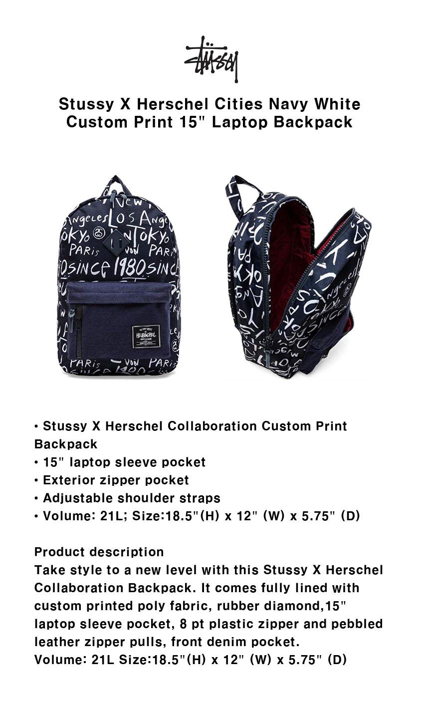 A 스투시 X 허쉘 15 노트북 백팩 Stussy X Herschel 990be621c69c7