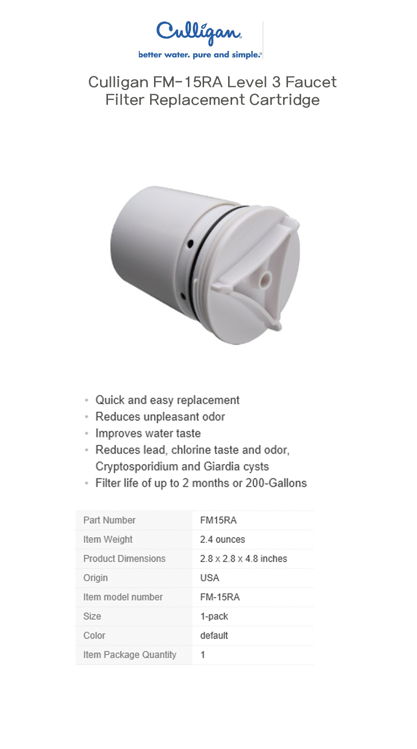 Awesome Culligan Fm 15ra Level 3 Faucet Filter Replacement Cartridge ...