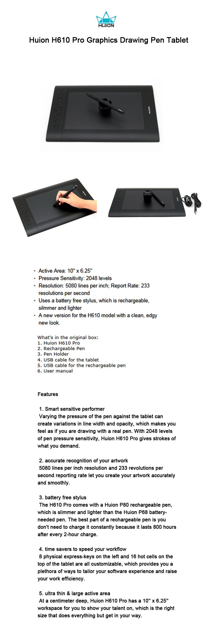펜 태블릿/Huion H610 Pro Graphics Drawing Pen Tabl