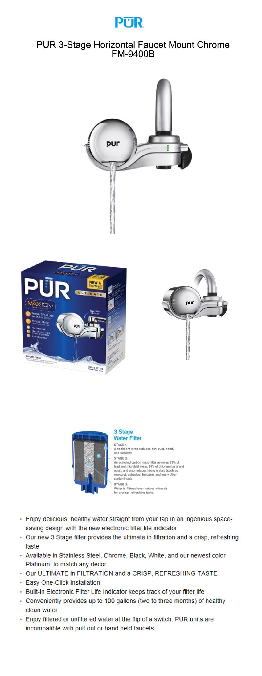 G마켓 - 정수기PUR 3Stage Horizontal Faucet Mount FM-9400B
